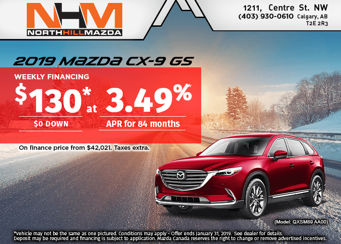FINANCE THE 3-ROW 2019 MAZDA CX-9 GS FROM $130 A WEEK!