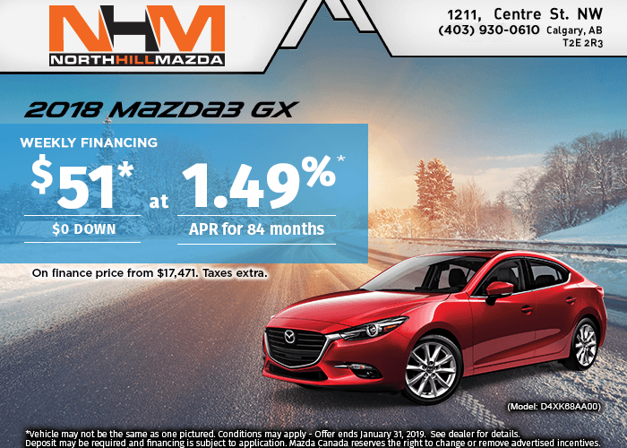 FINANCE A NEW 2018 MAZDA3 GX FROM $51 WEEK!