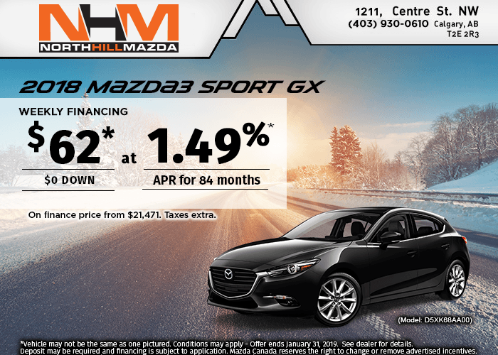 FINANCE A NEW 2018 MAZDA3 SPORT GX FROM $62 A WEEK!