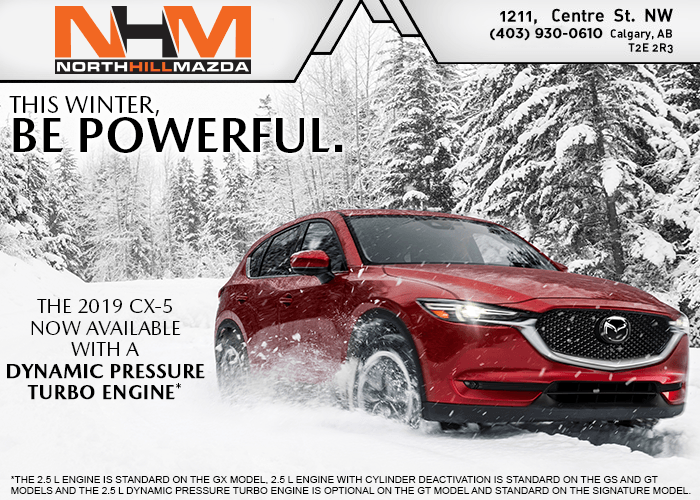 The 2019 CX-5: Now Available with a Dynamic Pressure Turbo engine.*